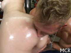 Gorgeous girl oiled up for oral debauchery and fucking