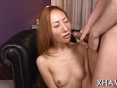 Asian chick toys her quivering pussy and gets fucked after giving head