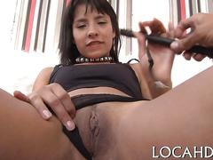 Amateur latina in leather boots fucked by a pussy loving stud