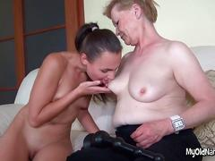 granny, lesbian, mature, blowjob, masturbation, threesome, old and young