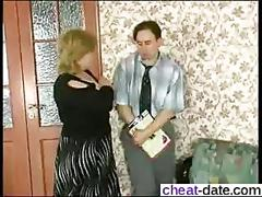 Big tits mature gets her fat cunt nailed on a bench