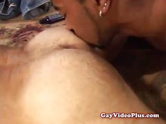 Hairy gay takes black dick in arse