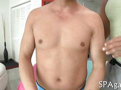 Tattooed hunk strips an asian guy for a hardcore massage