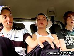 Tattooed british twink jacks off with his buddies in the backseat