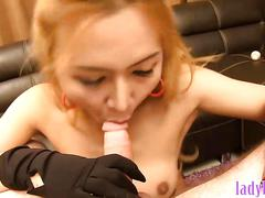Big fake tits blonde asian ladyboy blowjob and hot anal sex