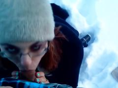 Hot blowjob and sex in outdoor snow