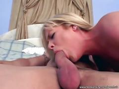 Hot blonde sucks cock and gets fucked hard