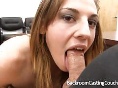 Randy brunette slobbers over this hard cock