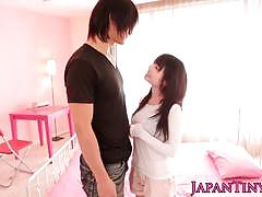 Little asian teen babe blows his dick