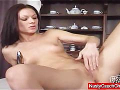 Raunchy brunette masturbating