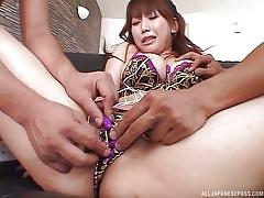 Sex toys on her breasts make her tingle