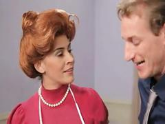 Hot redhead gives her boss a perfect blowjob after tv show