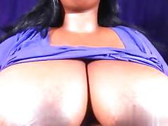 Ebony bbw shows off her huge tits on webcam