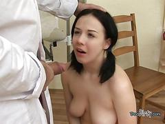 Teen whore sucks big fat cock of her doctor