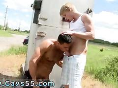 Dirty blonde twink sucks a hot guys cock in public
