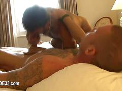 Tattooed dude eats a hairy ass and sucks cock