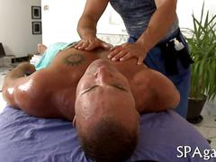 Hairy masseur gets his ass nailed by a horny straighty