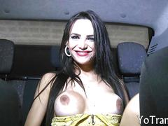 Busty shemale jennifer satine gives blowjob and ass fucked