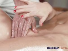 Massage rooms perfect tits nympho sucks and fucks before creampie