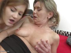 Mom and daughter love sharing double dildo
