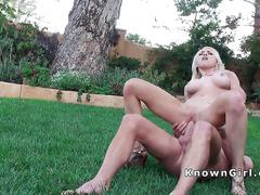 Huge tits girlfriend bangs in backyard
