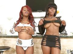 Nubian babes tease before a big booty fuck fest