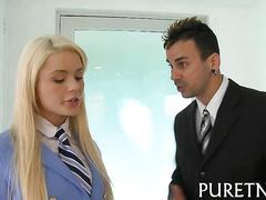 Blonde busty ass slut has a hot fuck session