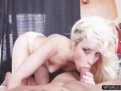 Horny blonde rides a fat cock and swallows