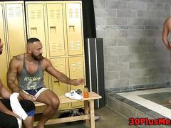 Muscled dude jizz soaked tattoo