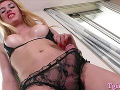Big boobs blonde shemale fucking with nasty guy on the bed