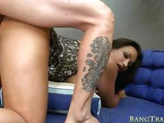 Sexy busty shemale monique gives blowjob and anal slammed
