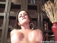 Shemale has a hot cock she loves to suck on