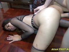 My cock deep in her asian throat