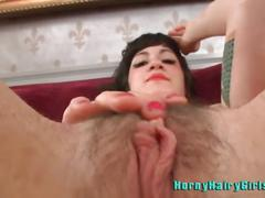Hairy babe stacy stax masturbating with big black dildo