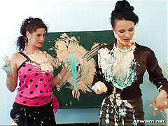 lesbians, fetish, weird, fully clothed, paint, at school, brunette milfs, sploshing, tainster