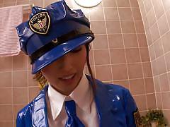 Tokyo police babe jerks me off