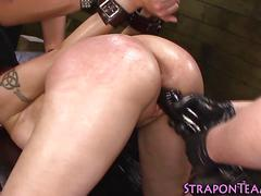 bdsm, lesbian, masturbation, fingering, group, redhead, spanking, threesome, gagging, gloves