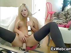 Pretty blonde fucked by a machine