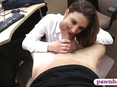 Foxy business lady stuffed by pawn dude at the pawnshop