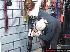 Skinny milf gets her little pussy vibrated in a bdsm basement