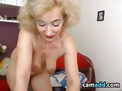 Blonde granny teasing