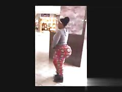 Slow motion big black booty jiggling in public
