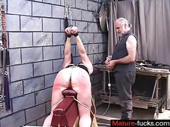 Gray haired master bounds and spanks his milf