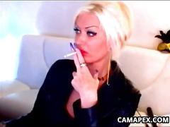 blonde, milf, webcam, big tits, smoking, solo