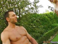babe, big boobs, blowjob, blonde, deepthroat, fingering, outdoors