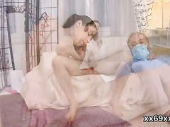 Doc assists with hymen check-up and defloration of virgin chick