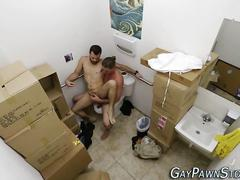 Bearded dude gets his ass rammed in a pawn store bathroom
