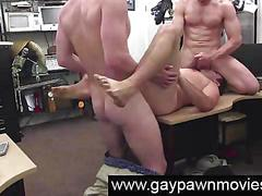 Gay threesome on camera for cash for desperate straight dude