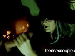 Halloween witchs handjob