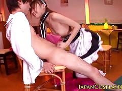 Japanese maid gobbles down this hard cock